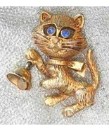 Charming Festive Avon Blue Rhinestone Eyes Cat ... - $12.95