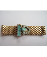 Gold Tone Faux Aquamarine Buckle Bracelet, by Lisner. c. late 1940s.