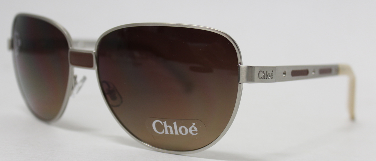 Chloe' Sunglass CLS 2261 4 Silver Metal Aviator, Brown Lens