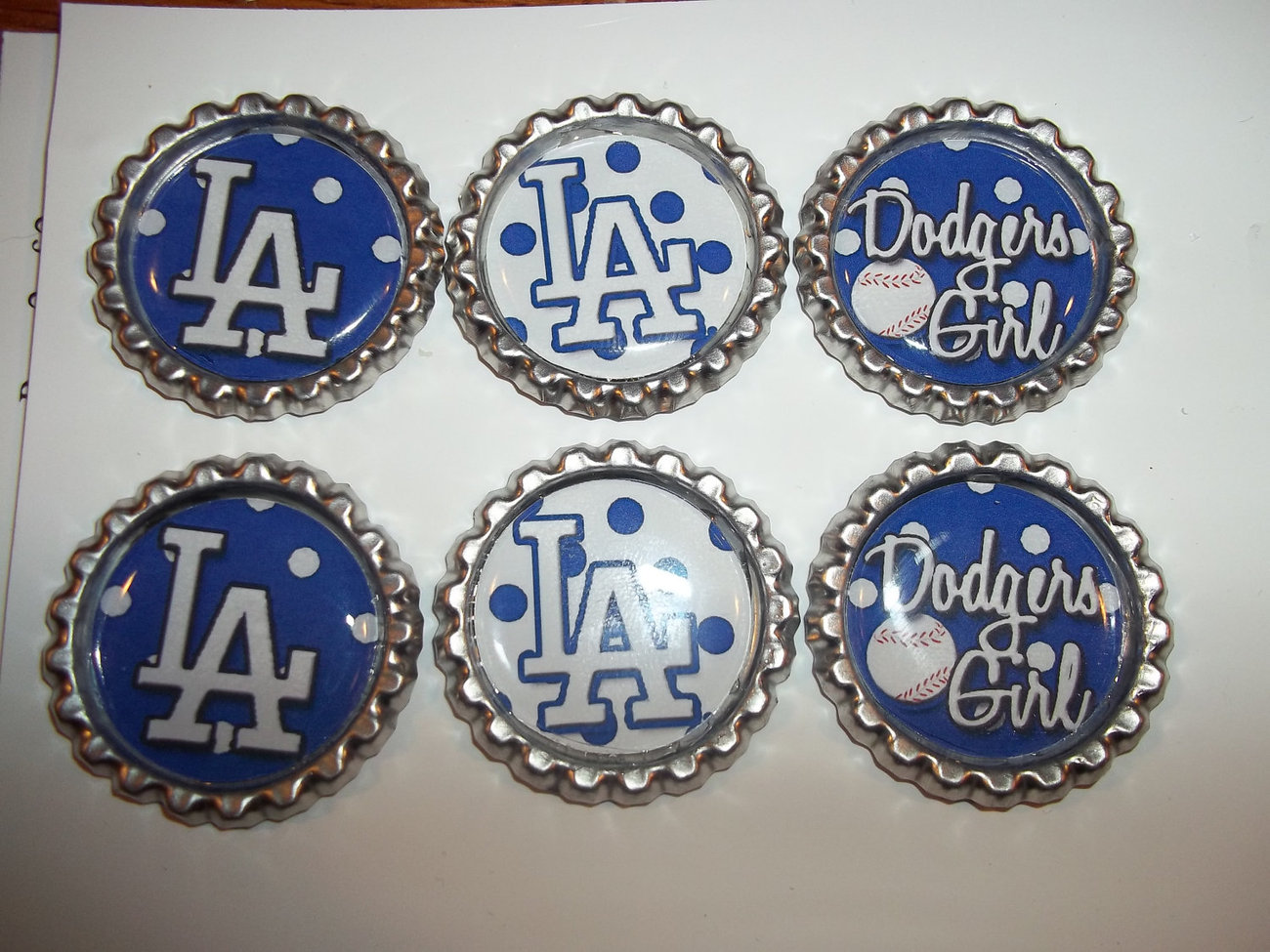 DODGERS  Inspired  set of 6  Bottle Caps FLAT CAPS