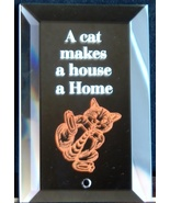 Mirrored Plaque Musical Brass Stand A Cat Makes... - $12.95