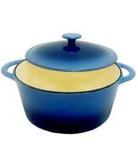 Blue Round Cast Iron Enamel Dutch Oven 5 1/2 Qu... - $75.99