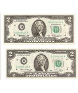 1976 $2 Dollar Bills 2 Uncirculated Sequence - $37.95