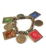 Vintage Silver Tone Coin & Stamp Charm Bracelet... - $7.99
