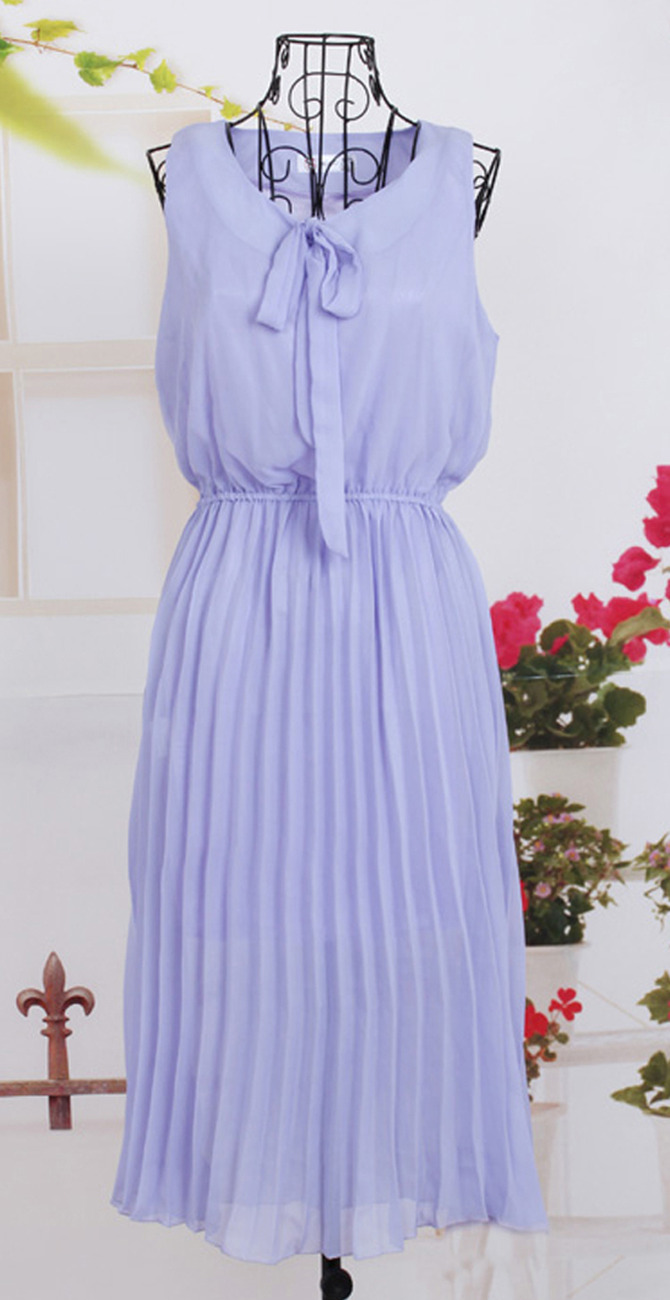2012_spring_summer_chiffon_dress_pleated_lavender_front_hang