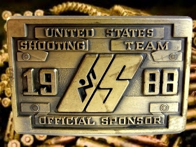Vintage Olympic US Shooting Team Official Sponsor Belt Buckle