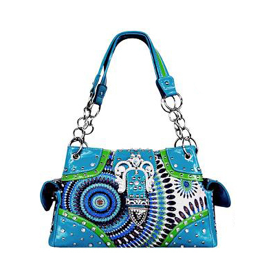 Blue MULTICOLORED Fashion Handbag