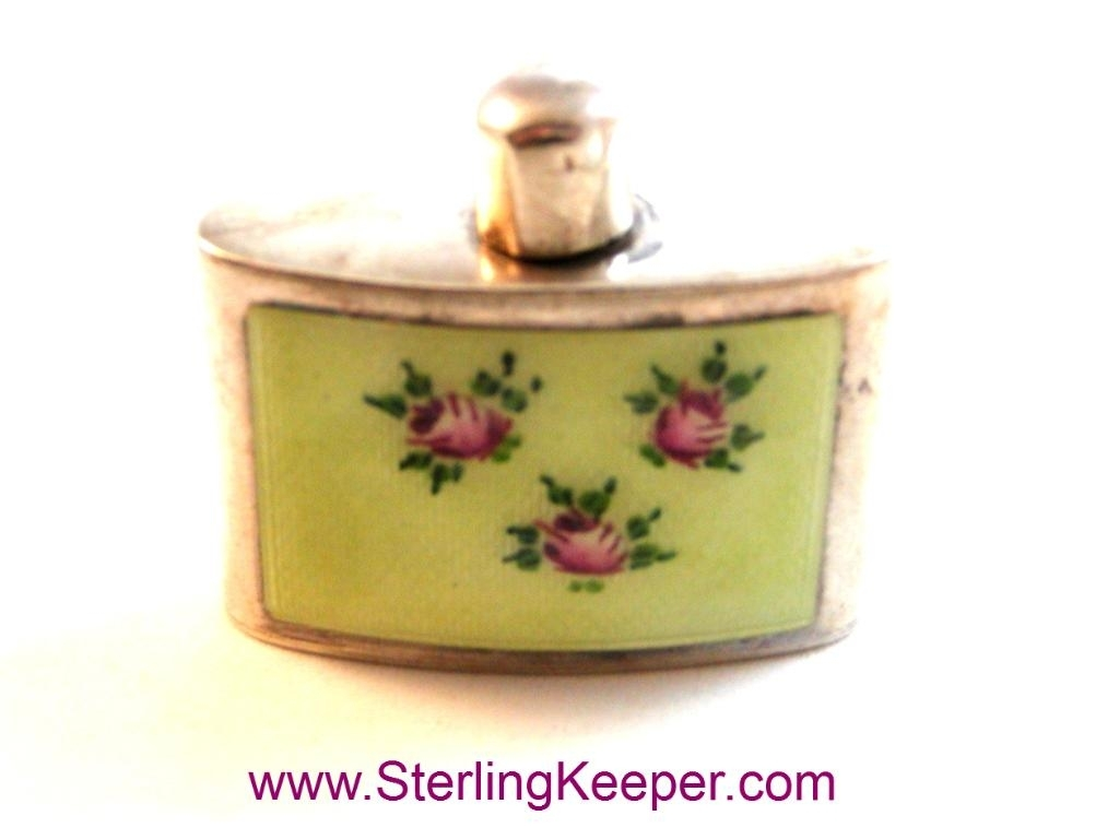 Vintage Mini Miniature Sterling Silver Guilloche Enamel Flower Perfume Bottle