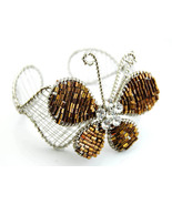 Butterfly Cuff bracelet brown seed beads and cr... - $15.00