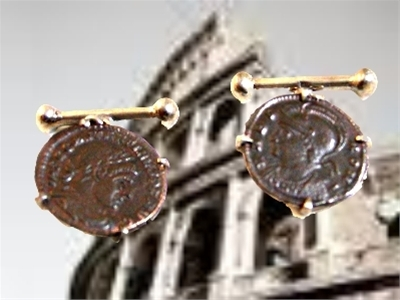 Vintage Bronze Constantine Coins on Sterling Silver Base Cufflinks