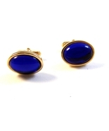 Vintage 1950&#39;s - 70&#39;s Gold Tone Sparkly Blue Stone Anson Cufflinks