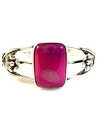 Southwest Sterling Silver & Purple Agate Cuff B... - $94.99