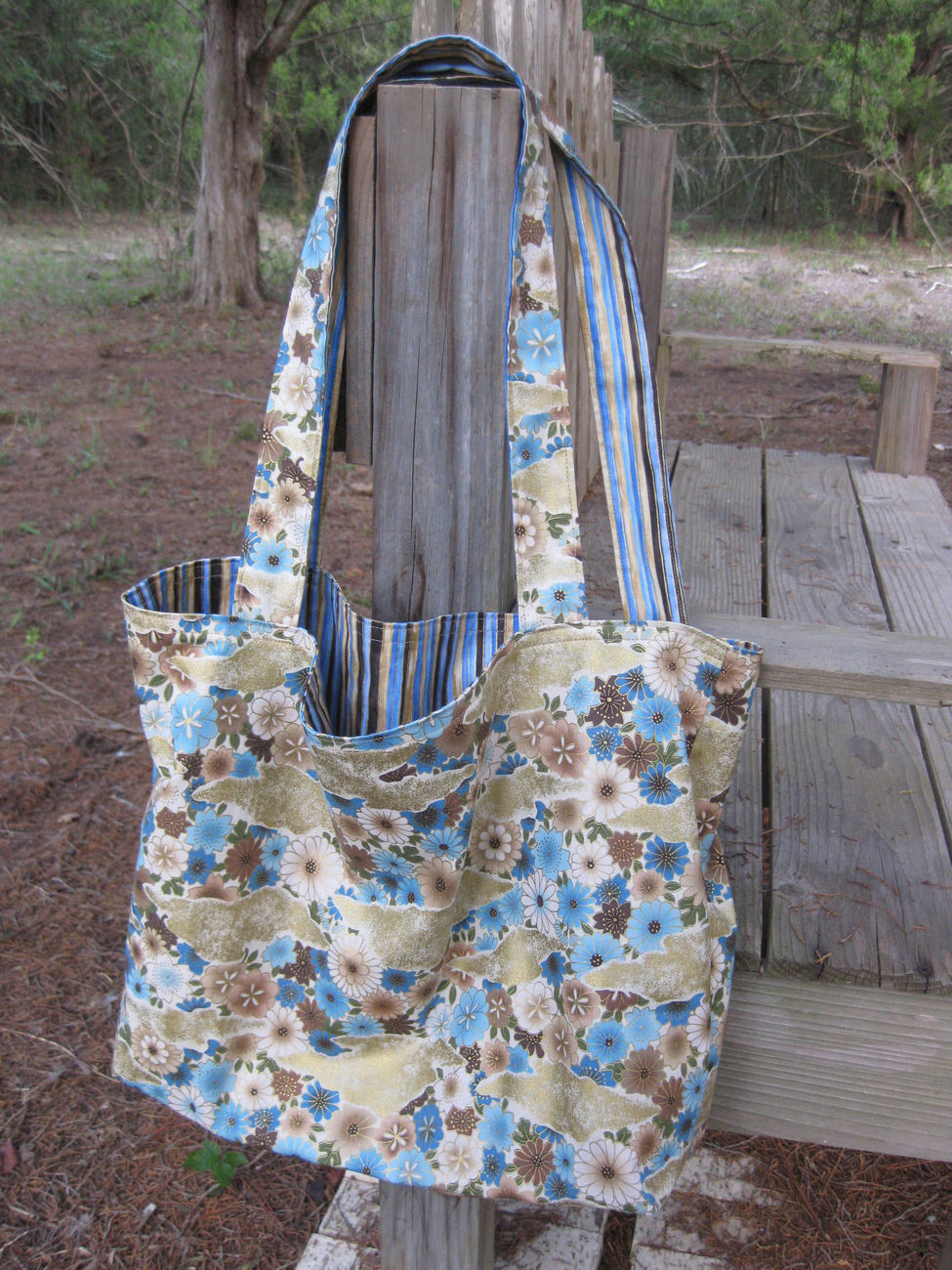 Blue Brown Tan Lightweight Reversible Totebag