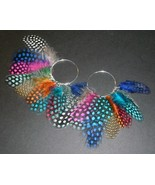 Pearl Guinea Hen Spotted Feather Earrings Inter... - $10.00