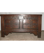 English Oak Carved Coffer, Late 17th Century, s... - $2,500.00