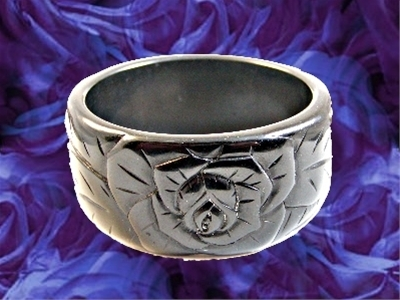 Fabulous Carved Vintage Black Bakelite Flower Bangle Bracelet  - a