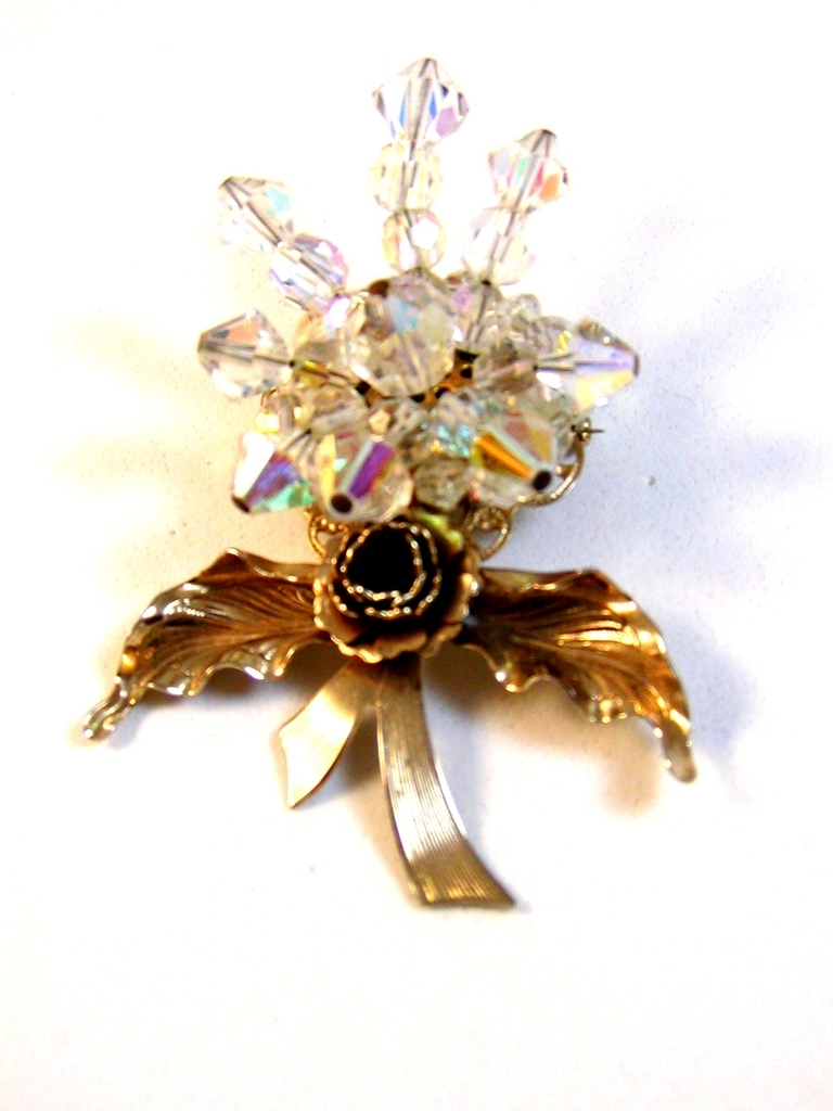 1940's - 1960's Gold Tone & Austrian Crystals Wedding Bouquet Brooch
