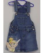 Girls Disney Tinker Bell Blue Denim Bib Skirt Size Small 5 to 6 - $6.00