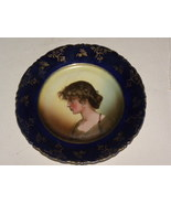 Antique Portrait Plate Victorian Lady Cobalt Bl... - $75.00