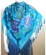 Velvet Triangle Peacock Scarf Wrap Shawl Aqua Turquoise - $32.99