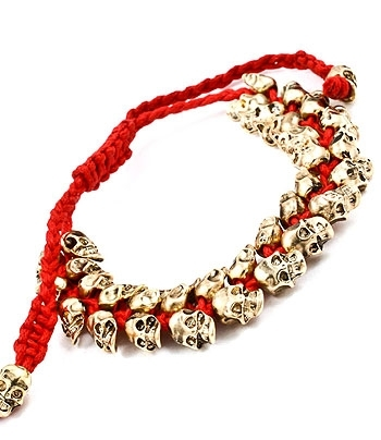 GOLD SKULL PARTY BRACELET - Red