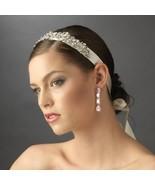New VINTAGE RHINESTONE WHITE RIBBON BRIDAL HEAD... - $74.99