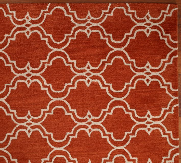 Brand New Pottery Barn SCROLL TILE ORANGE Persian Style Area Rug Carpet 5X8