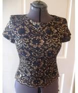 Womens dress blouse top shirt black lace w gold... - $7.00