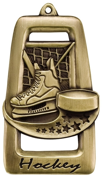 Hockey Star Blast Medal [2 3/4 inch] - Bronze/Maroon & Gold
