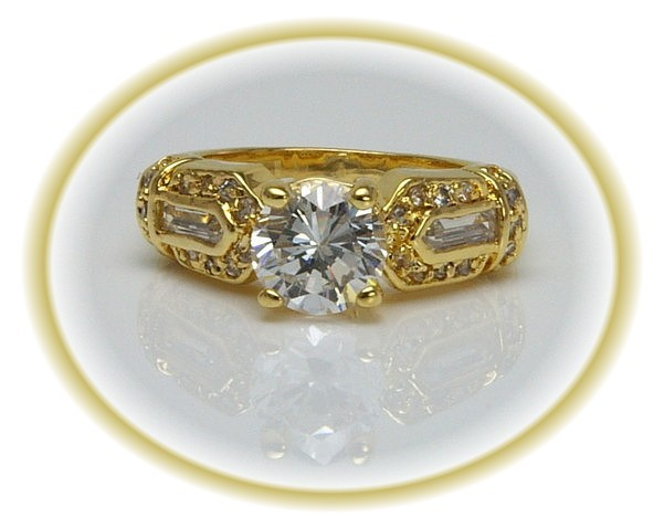 1.5 CT cz ENGAGEMENT/Wedding RING SZ 6 Gold STUNNING!