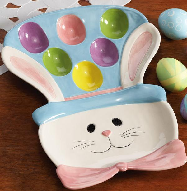 Image 2 of Easter Egg Bunny Ceramic Serving Platter