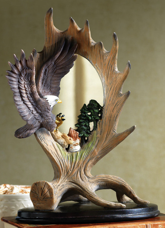 Northwoods Eagle Table Top Mirror Decoration