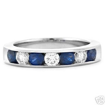 BLUE ICE! Sapphire Diamond wedding Ring Band