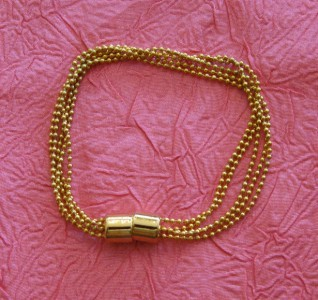 Gold Tone Ball Chain Bracelet with Magnetic Clasp