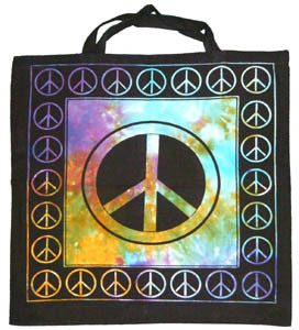 "MULTI TYE DYED PEACE SIGN COTTON TOTE RECYCLE ""GREEN"" TRIBAL BOOK SHOPPING BAG~"