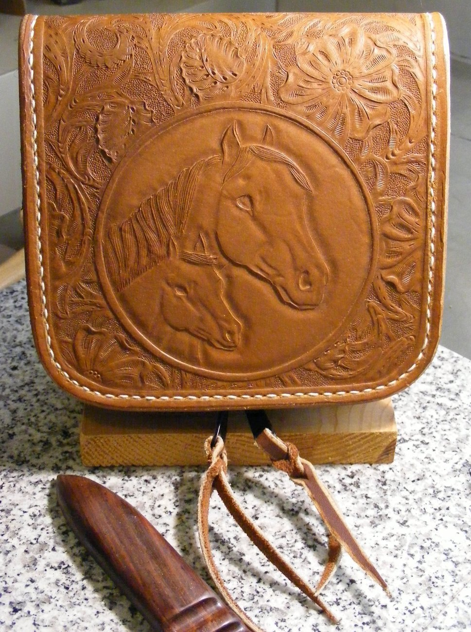Hand crafted tooled and carved leather CD case mare and foal