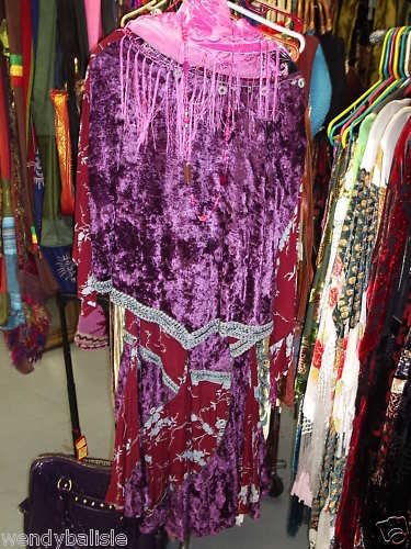 TIENDA HO~Velvet Matching GYPSY BOHO SET SKIRT&TOP!~Purples,Wines,pinks,PLUMS~~