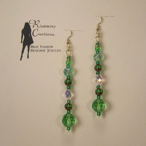 Dramatic Clover Green Mix Glass Drop Earrings