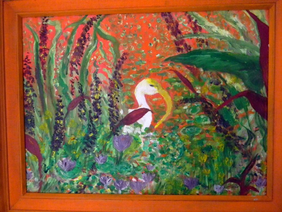 Swim With Flowers Oil Painting