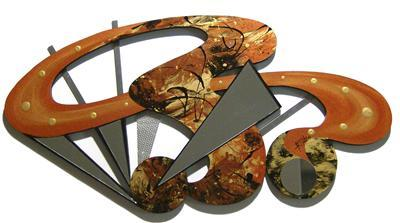 Gorgeous Warm Abstract Wood Metal & Mirror Wall Sculpture
