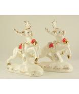 Vintage Napco spaghetti trim Christmas reindeer figurines   - $30.00