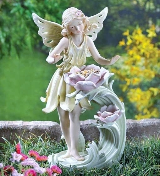 Bird Feeder Yard Garden Winged Fairy Statue Flowers Hold Seed Pastel Colors