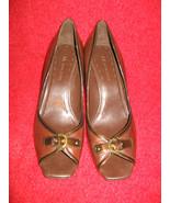 Anne Klein Heels--Leather Brown, Peeptoe Style,... - $27.88