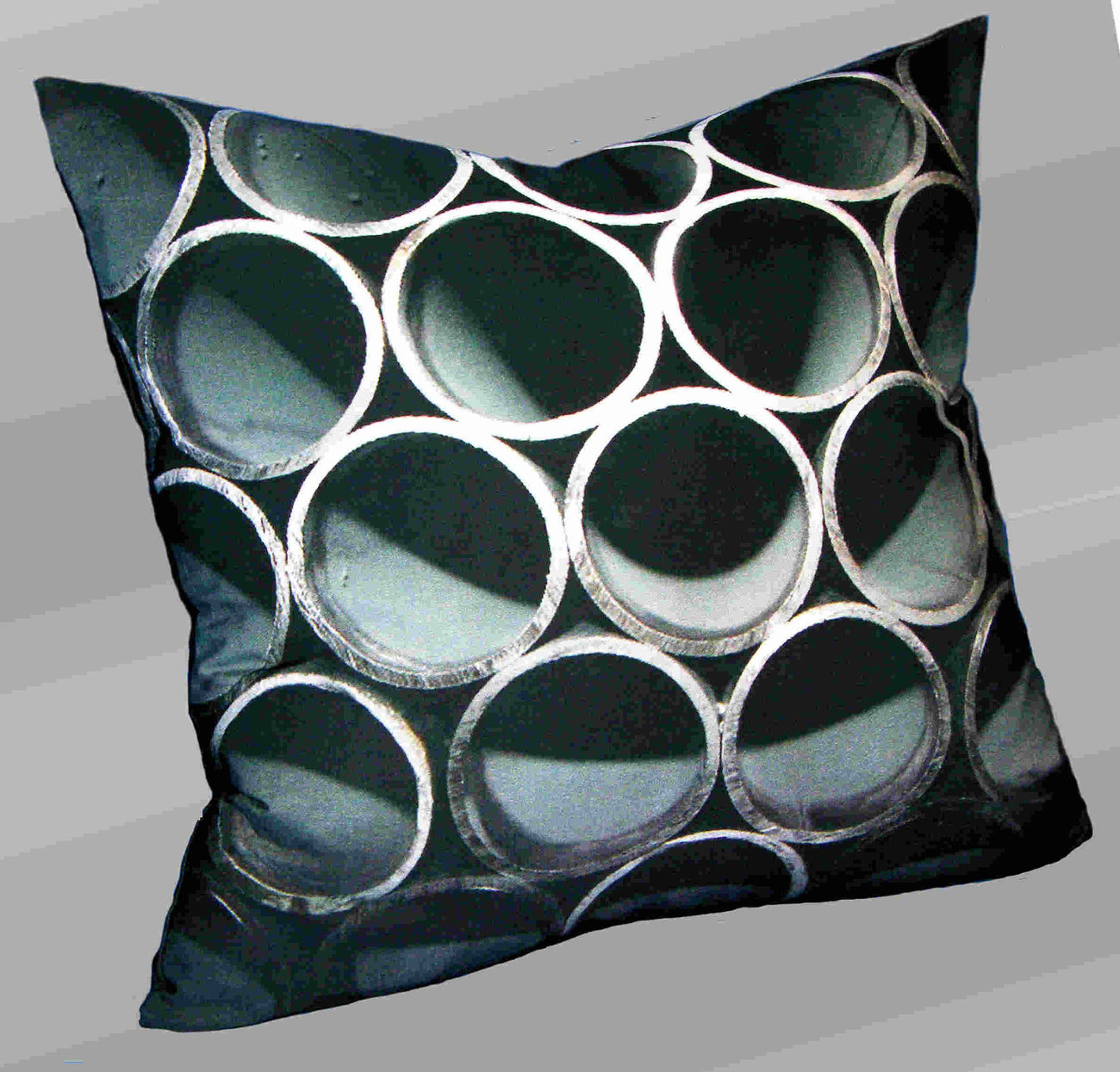 Steel Pipes on Bamboo fabric throw pillow - digital dye print, decorative throw