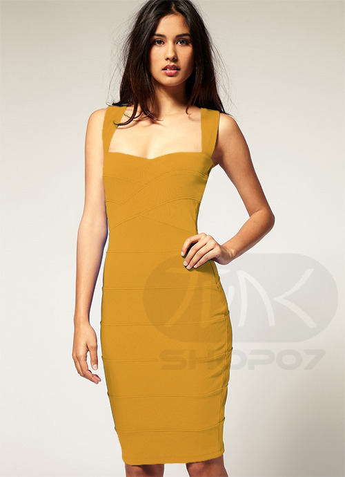 Mustard Yellow Secretary Dress