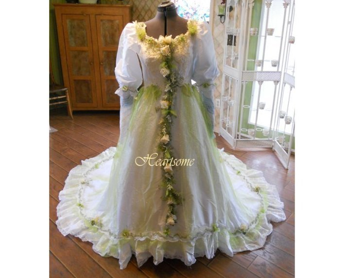 Vintage wedding dress gown fairy OOAK fantasy w head wreath white apple green