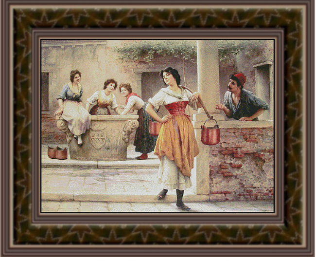 Flirtation at the Well  Cross Stitch Pattern