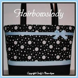 Blue Black Diaper Bag Tote Polka Dots Weekender Ribbon