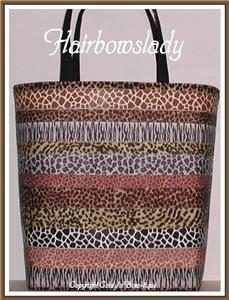 Giraffe Zebra Leopard Tote Diaper Bag Ribbon Brown