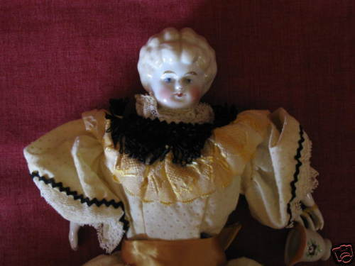 "Vintage China/Bisque Doll 13"" Molded Blonde Hair"